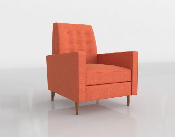 Silla 3D Reclinable West Elm Rhys Naranja