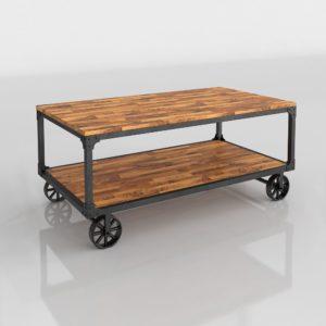 Mesa de Café 3D R&H Industrial con Ruedas