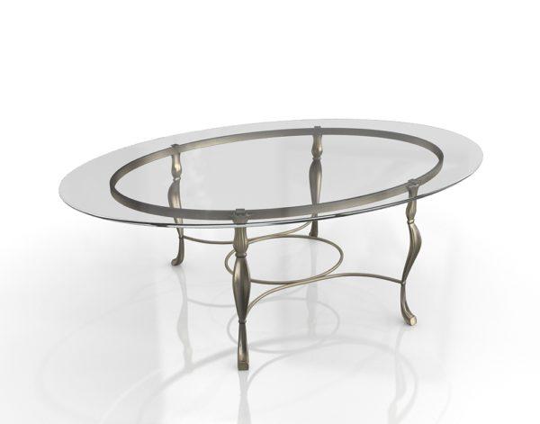 Mesa de Café 3D Vintage de Cristal