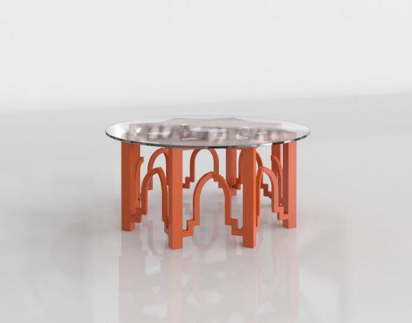 Mesa de Café 3D Naranja Cristal