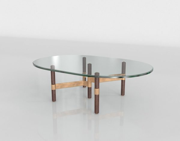 Mesa de Café 3D Helix Óvalo de Cristal