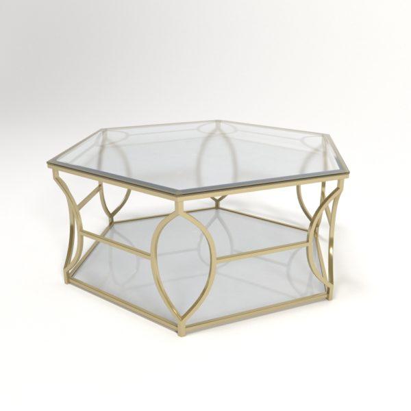 Mesa de Café 3D Hexágono de Cristal