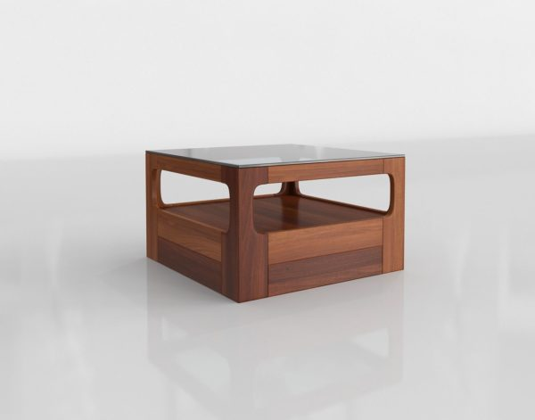 Mesa de Café 3D Caja de Madera con Cristal