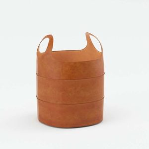 Hayes Leather Storage Basket Floor Pottery Barn