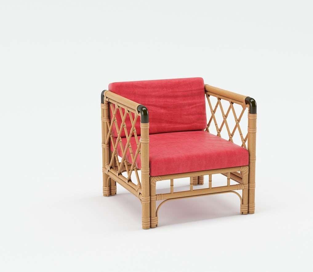 Fabric Cushioned Rattan Chair