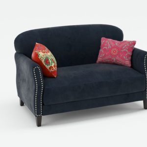 3D Loveseat C&B in Velvet with Pillows
