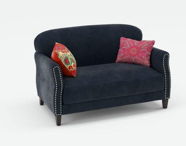 3D Loveseat C&B in Velvet with Pillows
