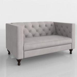 Sofá 3D Biplaza Wayfair Hultgren Chesterfield