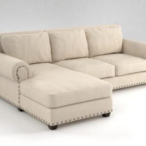 Sofá 3D Seccional R&H Chaise Derecha