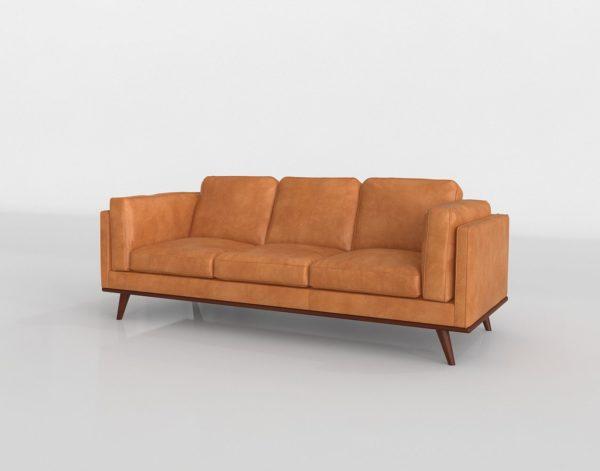 Sofá 3D Structube Rowan en Cuero