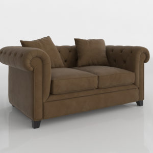 Sofá 3D Biplaza Lux Chesterfield