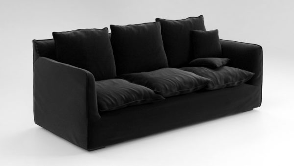 Sofá 3D R&F Negro con Cojines