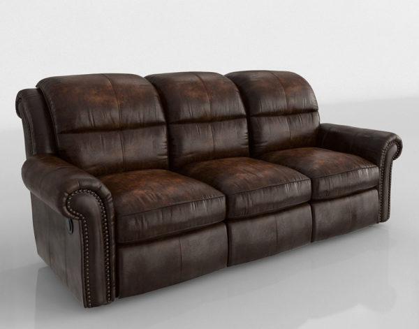 Sofá 3D Reclinable Clásico en Cuero
