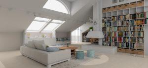 attic decoration with bookcase