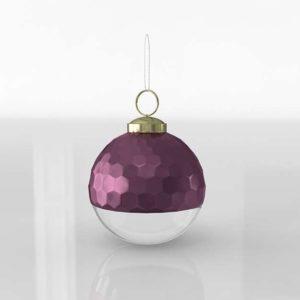 Bola de Árbol 3D Navideña Plata y Púrpura