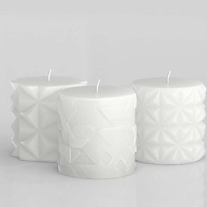 3D Pillar Candle CB2 Set of 3