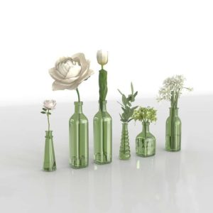 Flower Glass Bottles 3D Model