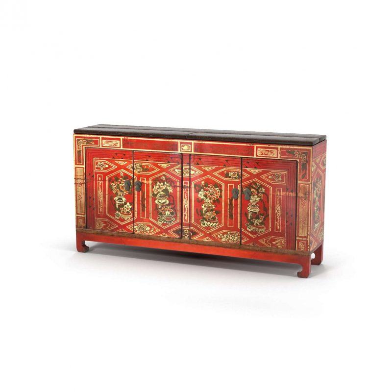 Red 4 Door Chest Chinese Decor