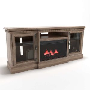 3D Fireplace Console Interior Decor Retro