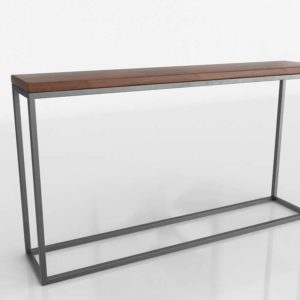 3D Tall Side Table CB2 Iron & Wood