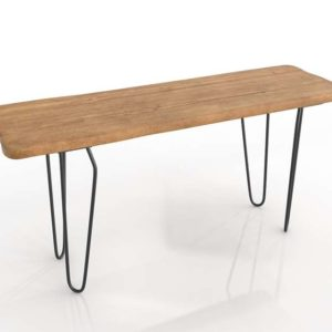 3D Console Table Open in Wood