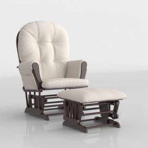 3D Armchair and Ottoman Wayfair Hoop Glider
