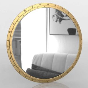 Antiqued Riveted Round Mirror