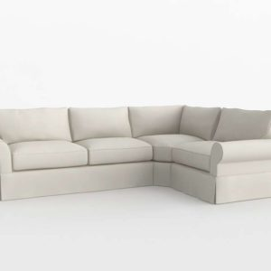 Slipcovered Left Arm 3 Piece Wedge Sectional PB