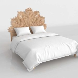 Anthropologie Carved Frond Bed King