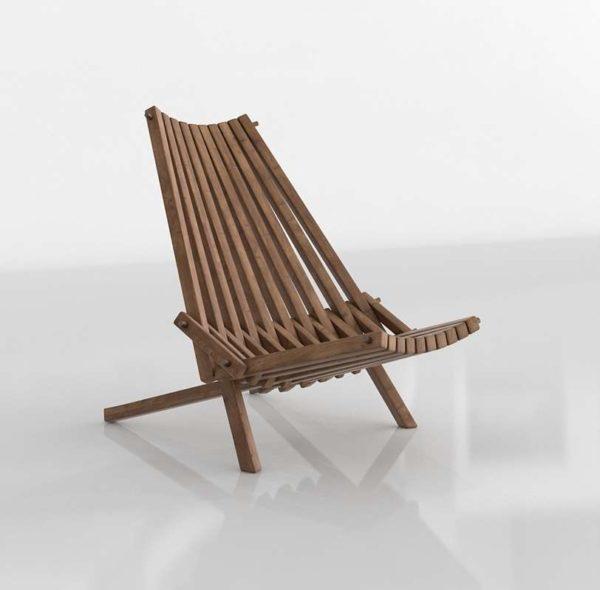 Wood Side Chair Glancing Eye 3D Model C08
