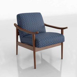 Westelm Mid Century Show Wood Chair Morse Blue Multi