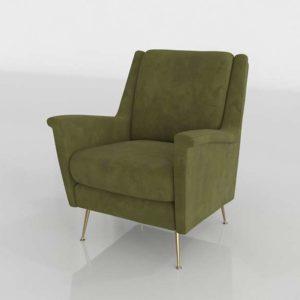 Westelm Carlo Mid Century Chair Worn Velvet