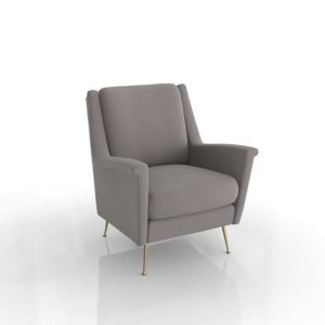 Westelm Carlo Mid Century Chair Worn Velvet Metal