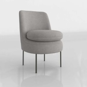 Westelm Modern Curved Slipper Chair Deco Weave Feather