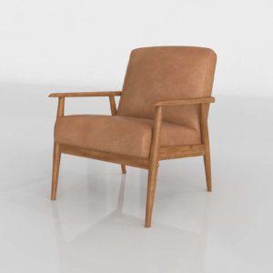 Pier1 Lummus Cognac Wood Frame Accent Chair