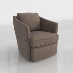 Westelm Duffled Swivel Chair In Performance Velvet Otter