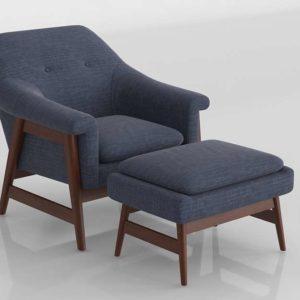 Nationalfurnituresupply Flynton Chair Ottoman Navy Espresso