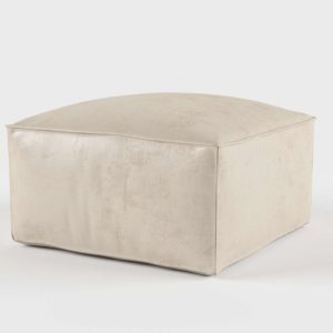 Westelm Solid Luster Velvet Pouf Stone