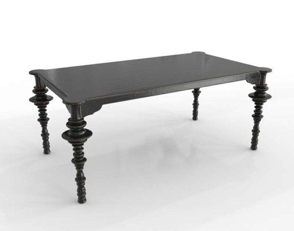 ZincDoor Noir Ferret Dining Table DistressedBlack