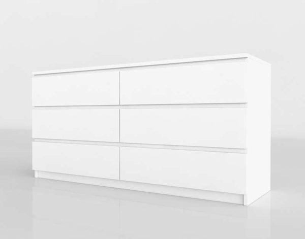 Cómoda 3D IKEA Malm 6 Cajones Blanco