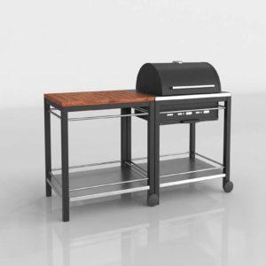 Modelo 3D Barbacoa con Carrito Klasen