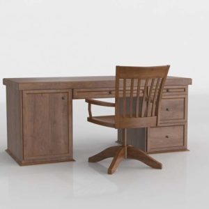 Antique 3D Furniture Desk And Chair