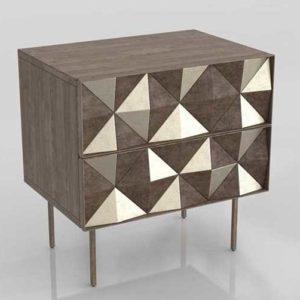 Westelm Roar Rabbit Diamond Rhombus Drawer Nightstand Brass
