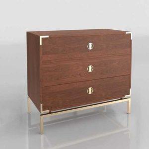 Westelm Malone Campaign Storage 3 Drawer Dresser Walnut