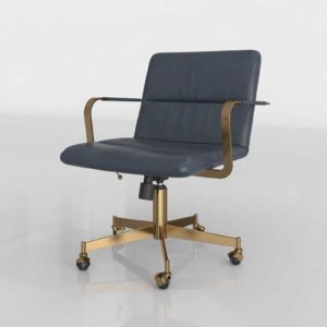 Westelm Cooper Mid Century Leather Swivel Chair Aegean