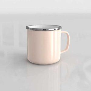 CB2 Large Light Pink Enamel Mug