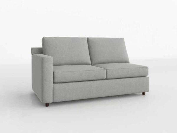 Strange 3D Crateandbarrel Barrett Left Arm Apartment Sofa Galaxy Ash Creativecarmelina Interior Chair Design Creativecarmelinacom