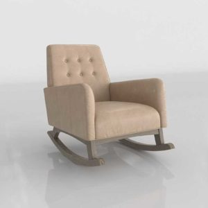 CrateAndBarrel Everly Leather Tufted Rocking Chair Blush