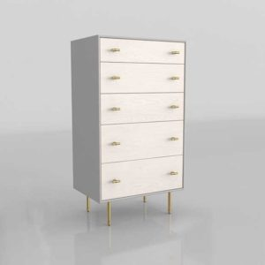 WestElm Modernist Wood And Lacquer 5 Drawer 3D Dresser Winter Wood