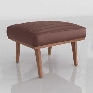 3D Designer&GE Cavett Leather Channel Ottoman Libby Amaretto